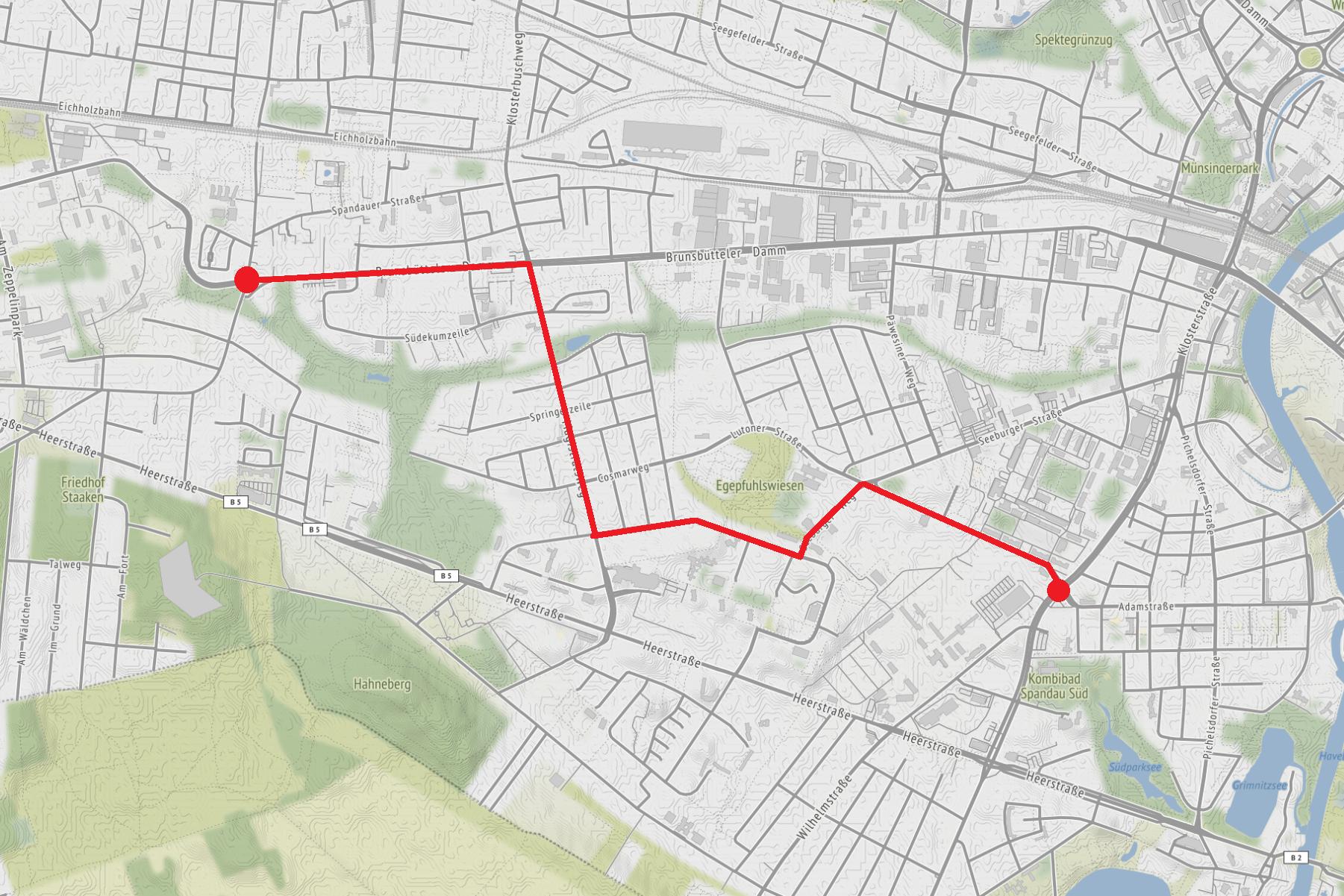 Die Route des geplanten Neonazi-Aufmarsches